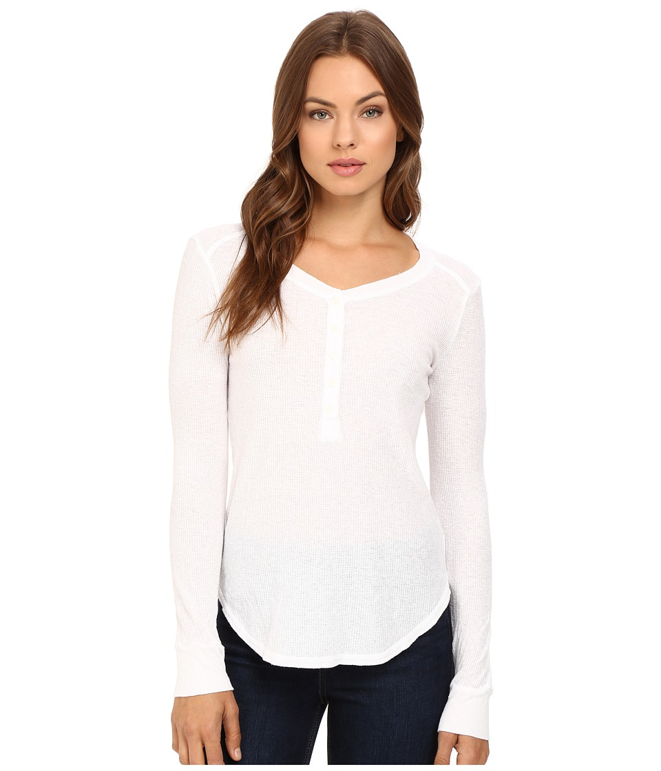 Splendid - Heathered Thermal Henley (White) Women's Clothing