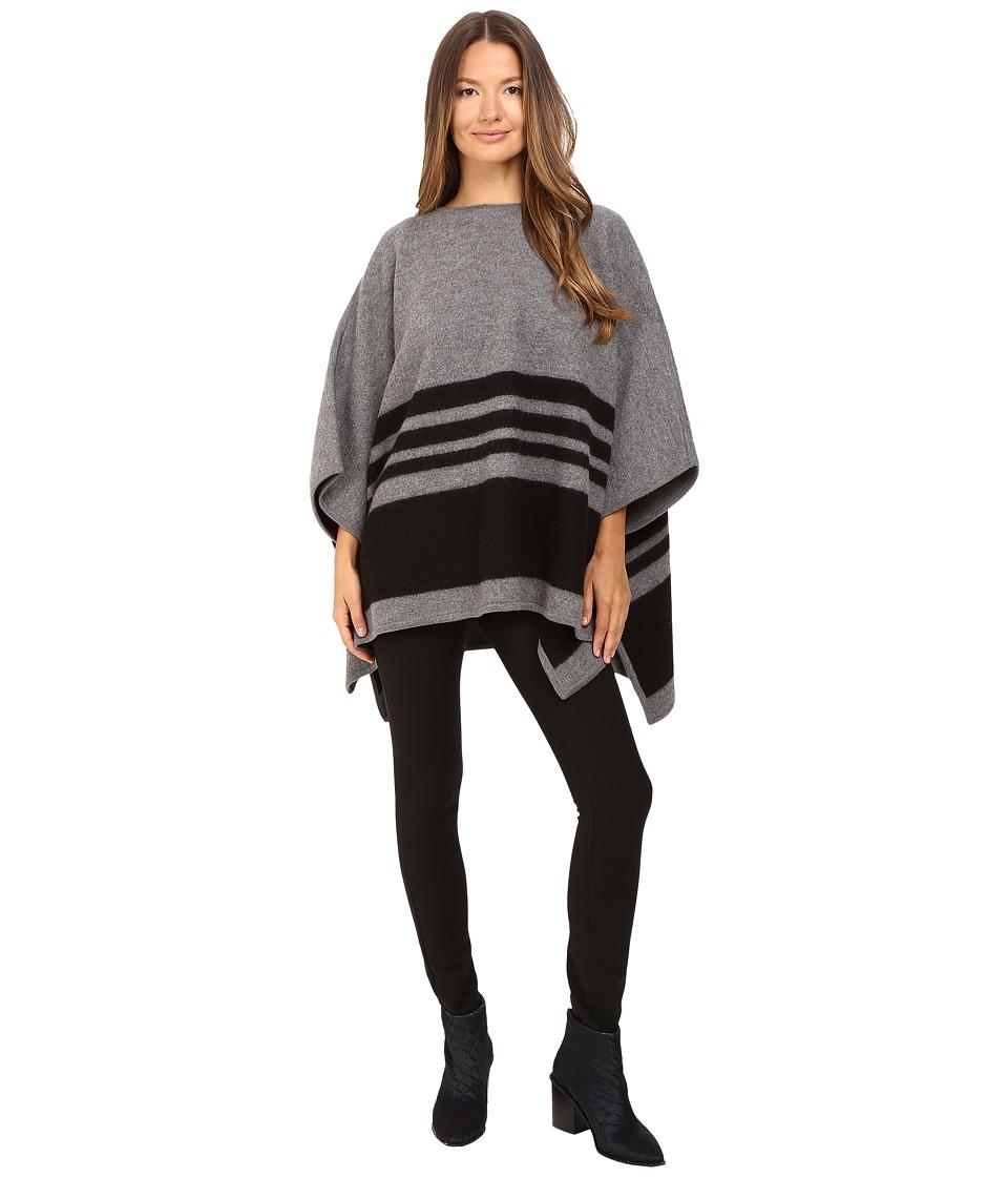 Kate Spade New York - Stripe Poncho (Grey Melange) Women's Clothing