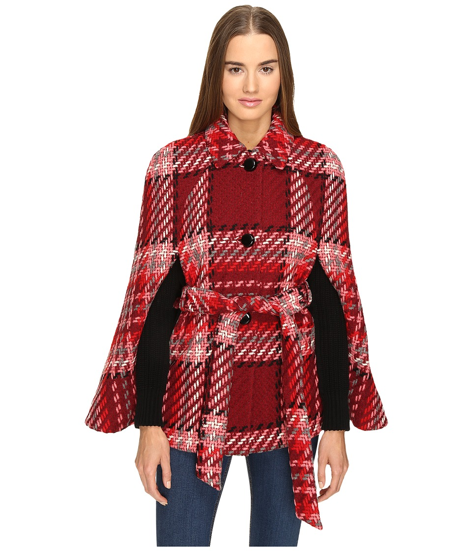 Kate Spade New York - Chunky Plaid Cape (Red Multi) Women's Clothing