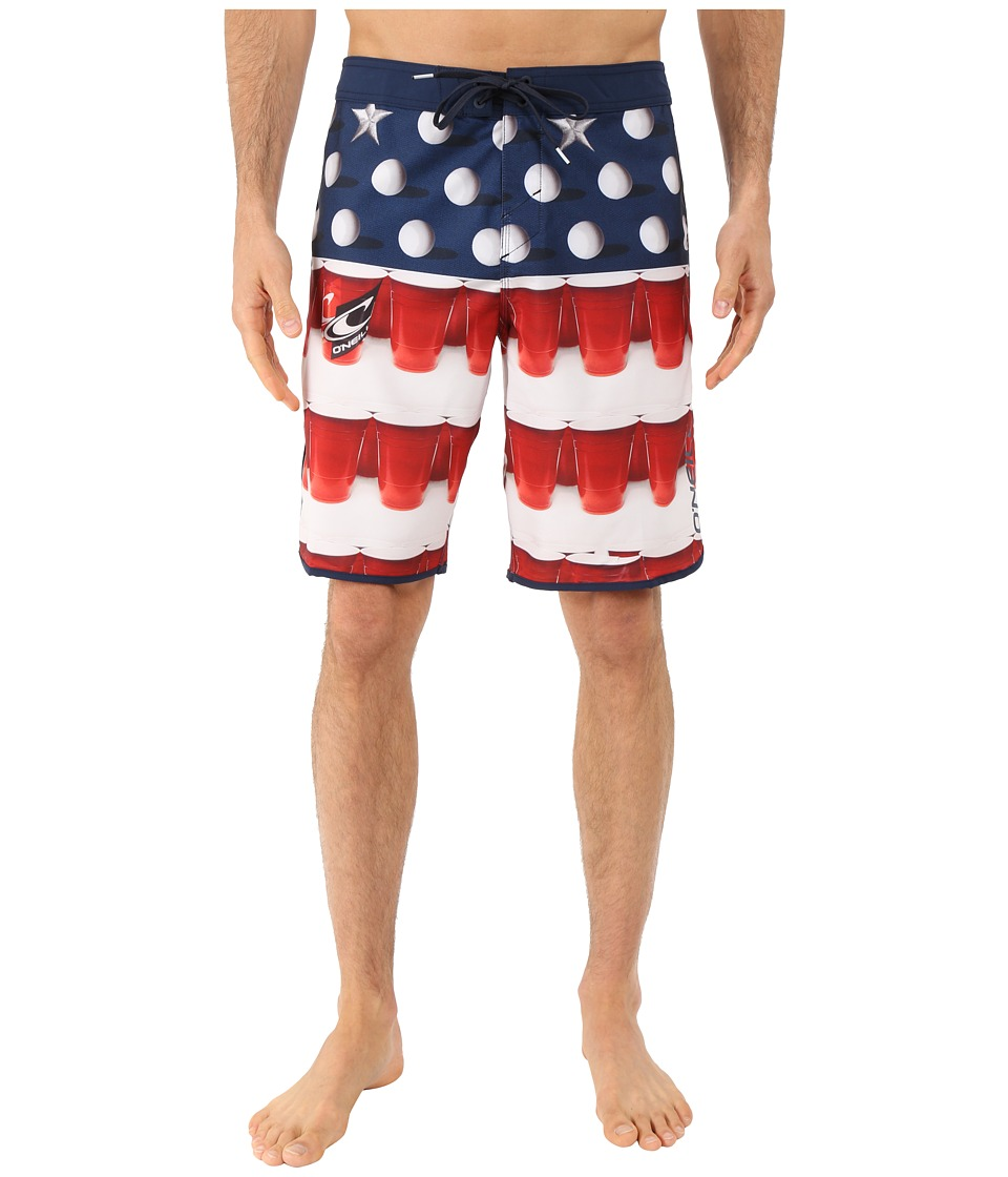O'Neill - Hyperfreak Beer Pong Boardshorts (Red) Men's Swimwear