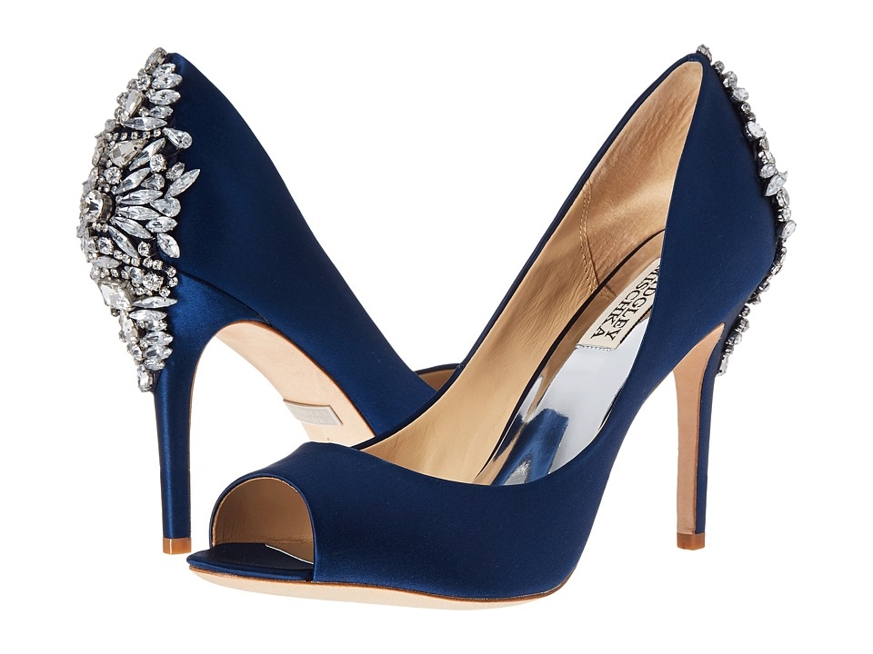 Badgley Mischka Nilla (Navy Satin) Women