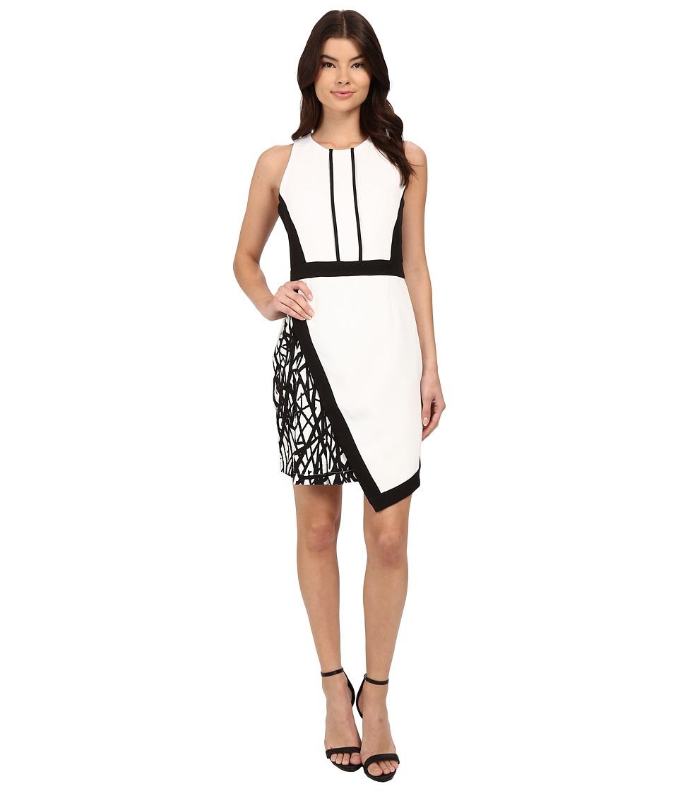 Adelyn Rae - Fitted Mixed Media Asymmetrical Hem Dress (Off-White) Women's Dress