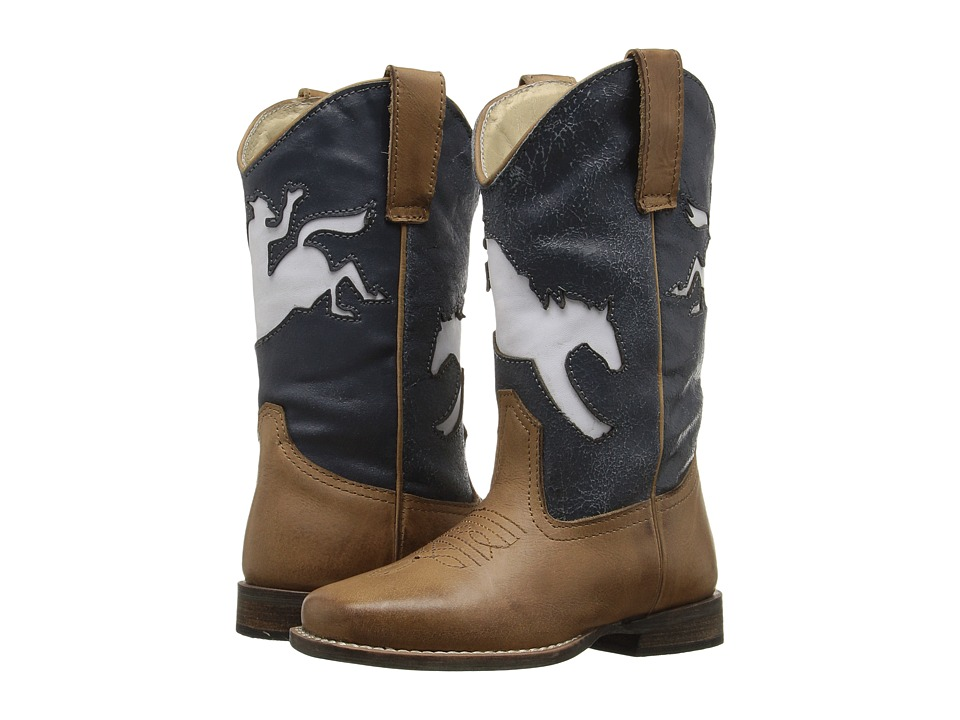 Roper Kids - Bronc Rider (Toddler/Little Kid) (Tan Leather/Vamp Blue Shaft w/ Horse) Cowboy Boots