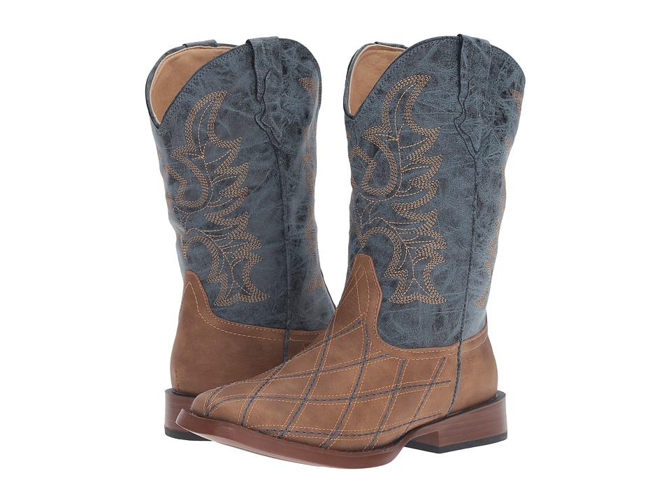 Roper Kids - Cross Cut (Big Kid) (Tan Faux Leather/Vamp Navy Shaft) Cowboy Boots