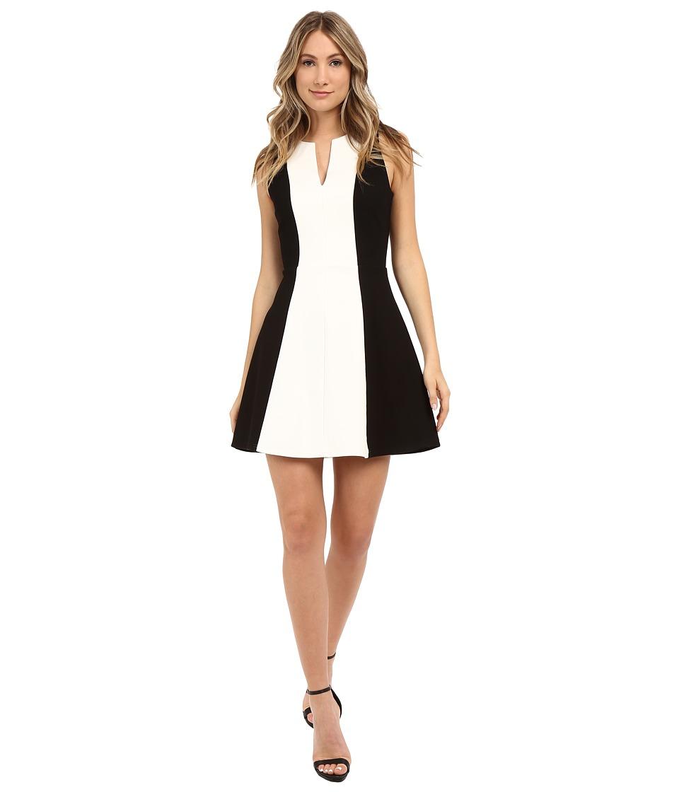 Image of Adelyn Rae - Color Block Fit Flare Dress (White/Black) Women's Dress