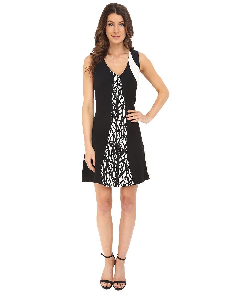 Adelyn Rae - Color Block Printed Dress (Black/Ivory) Women's Dress