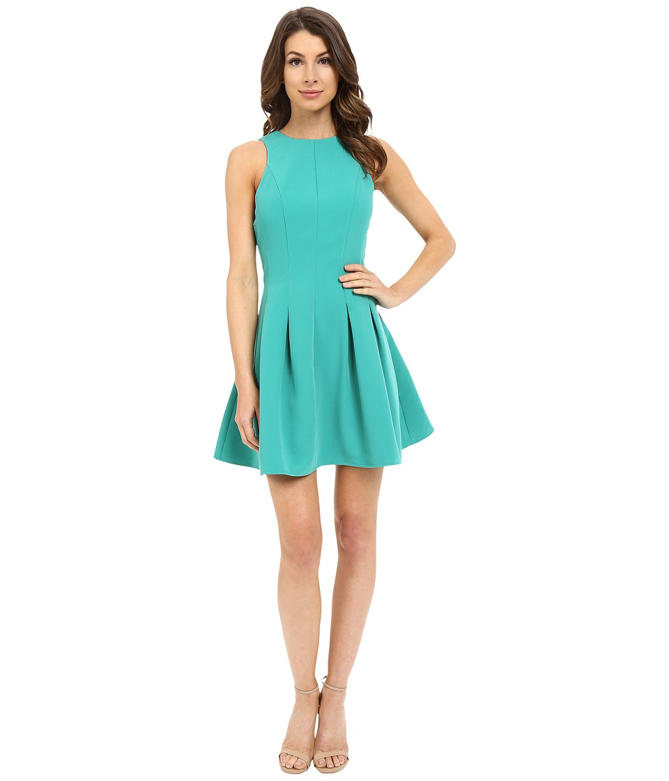 Adelyn Rae - Fit Flare Dress w/ Pleats (Emerald) Women's Dress