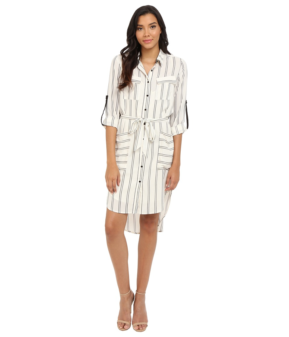 Adelyn Rae - Stripe Shirt Dress (Ivory/Black) Women's Dress