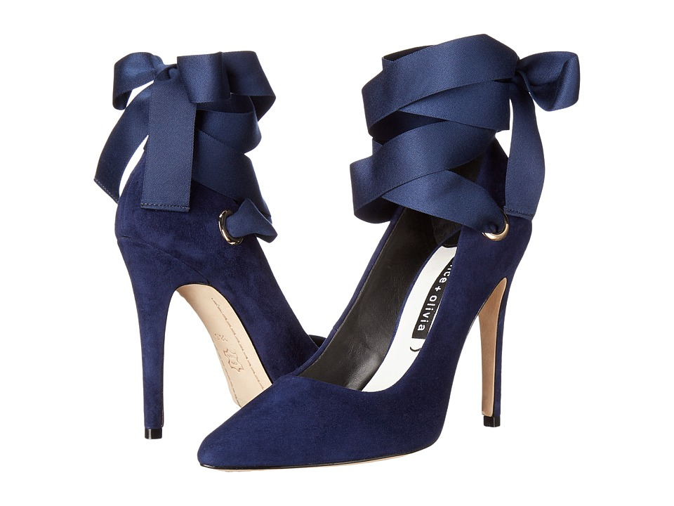 Alice + Olivia - Dominque (Sapphire Suede/Ribbon) Women's Shoes