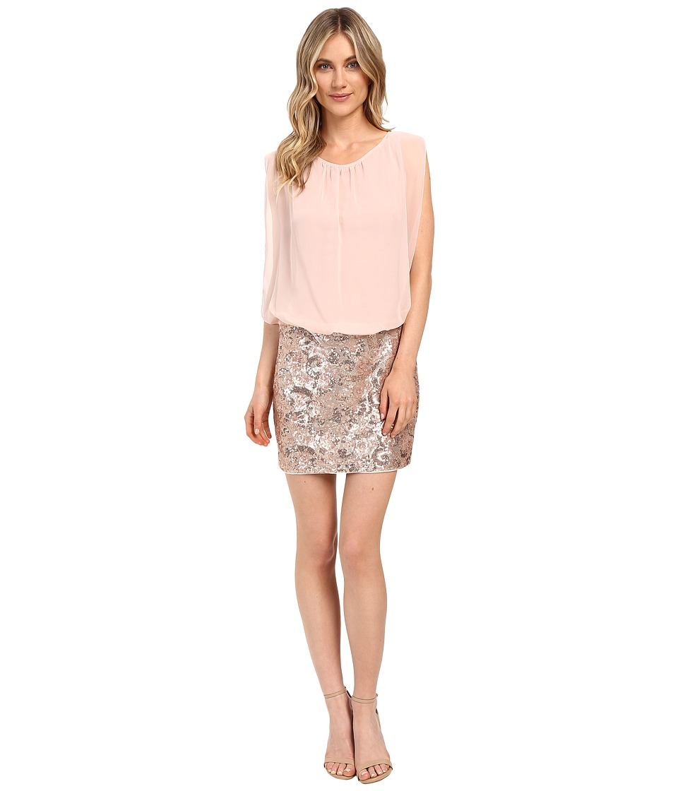 Aidan Mattox Blouson Cocktail w/ Sequin and Bead Skirt (Rosegold) Women