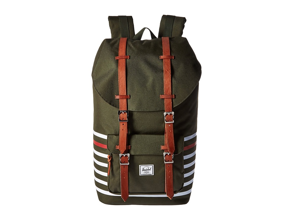 Herschel Supply Co. - Little America (Forest Night Offset Stripe/Veggie Tan Leather) Backpack Bags