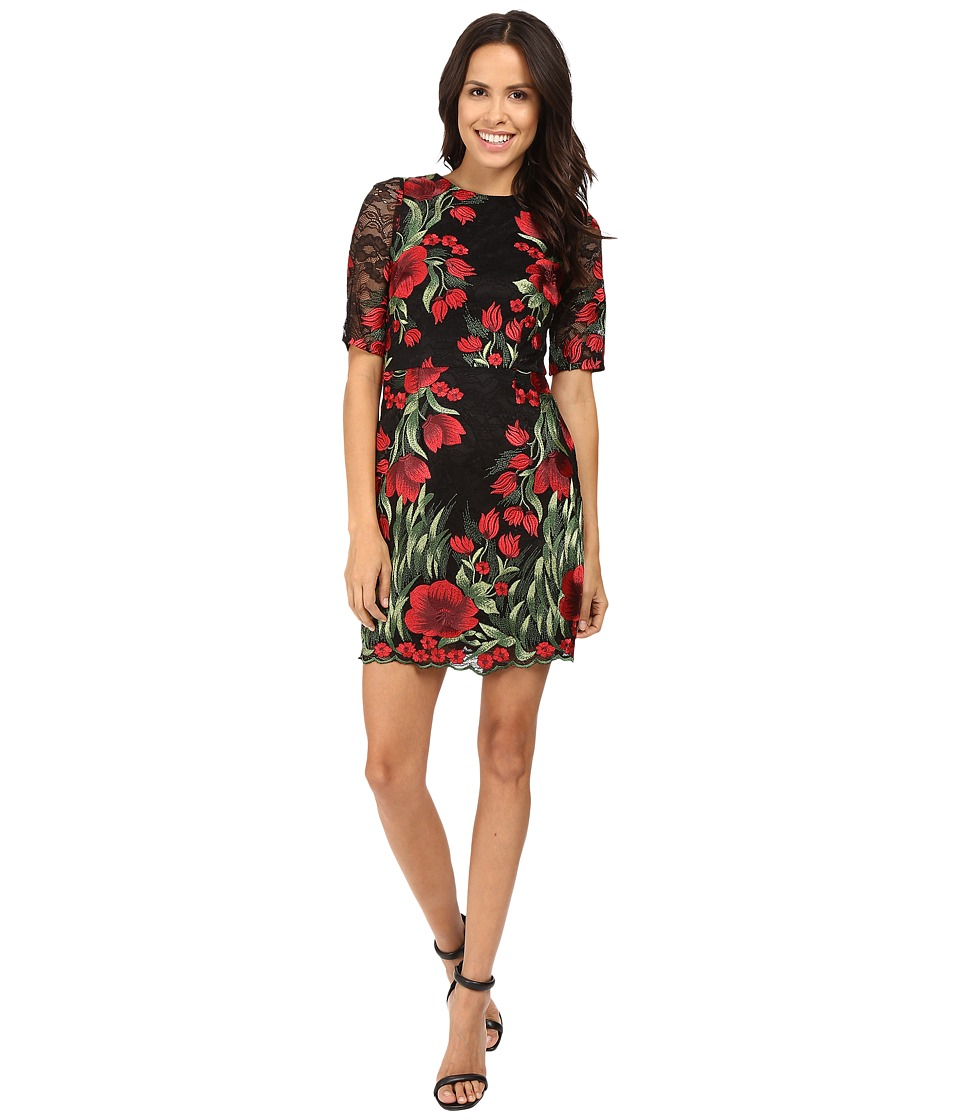 Aidan Mattox - Embroidered 3/4 Sleeve Cocktail Dress (Red Multi) Women's Dress