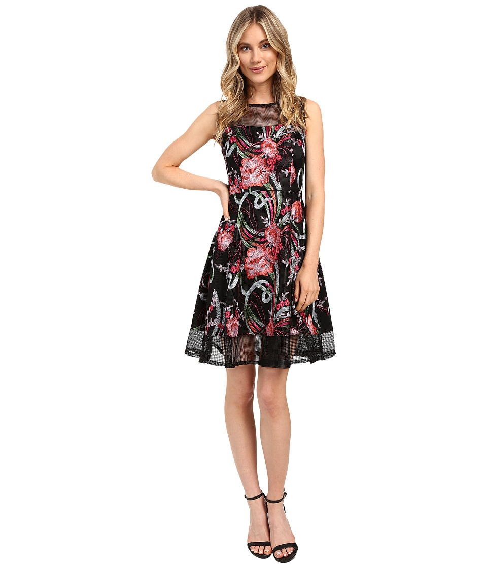 Aidan Mattox Embroidered Mesh Cocktail Dress (Pink Multi) Women