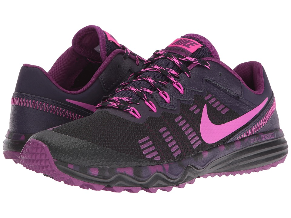 Nike - Dual Fusion Trail 2 (Black/Purple Dynasty/Bright Grape/Fire Pink) Women's Running Shoes