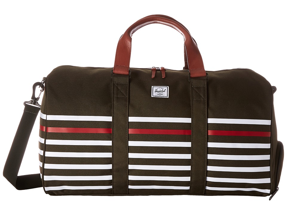 Herschel Supply Co. - Novel (Forest Night Offset Stripe/Veggie Tan Leather) Duffel Bags