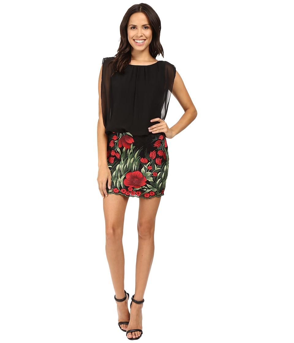 Aidan Mattox - Chiffon Blouson w/ Embroidered Skirt (Red Multi) Women's Skirt