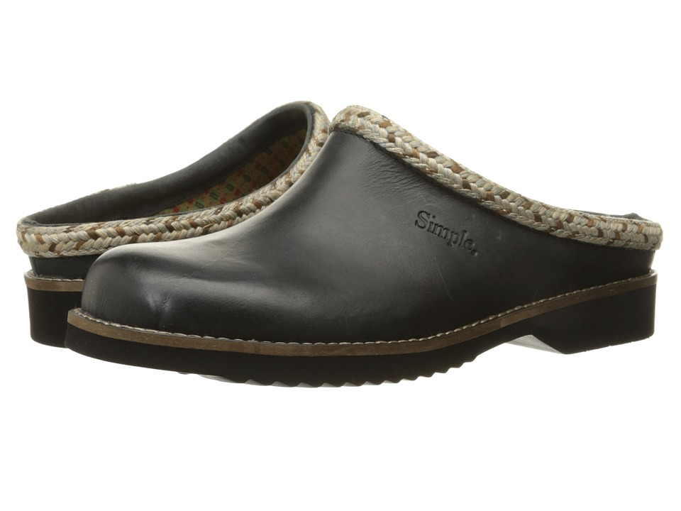 Simple - Hallie (Black Full Grain Leather) Women's Clog Shoes