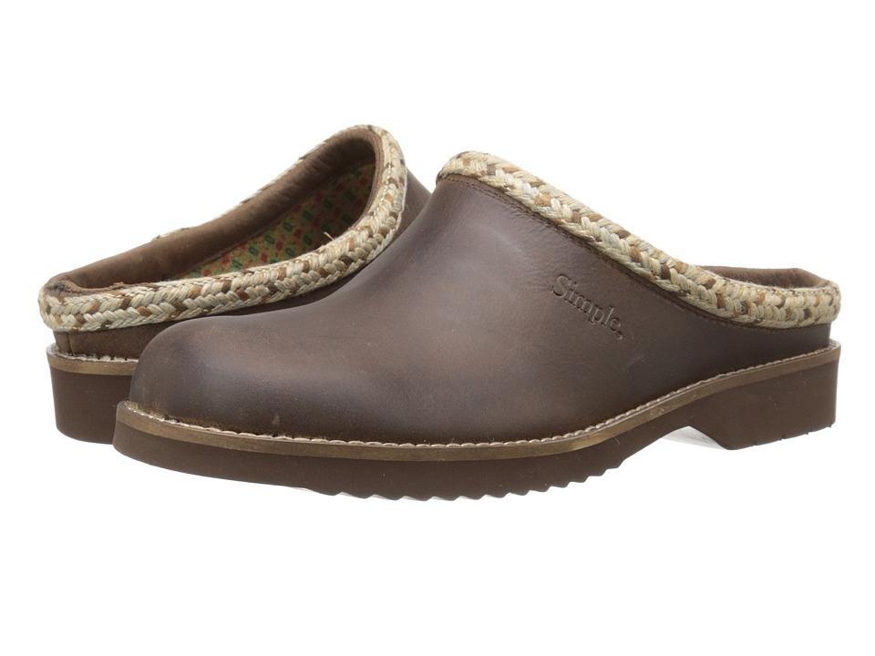Simple - Hallie (Dark Brown Full Grain Leather) Women's Clog Shoes