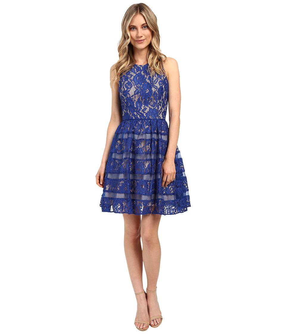 Aidan Mattox - Halter Lace w/ Shadow Stripe Detail Dress (Neptune/Nude) Women's Dress