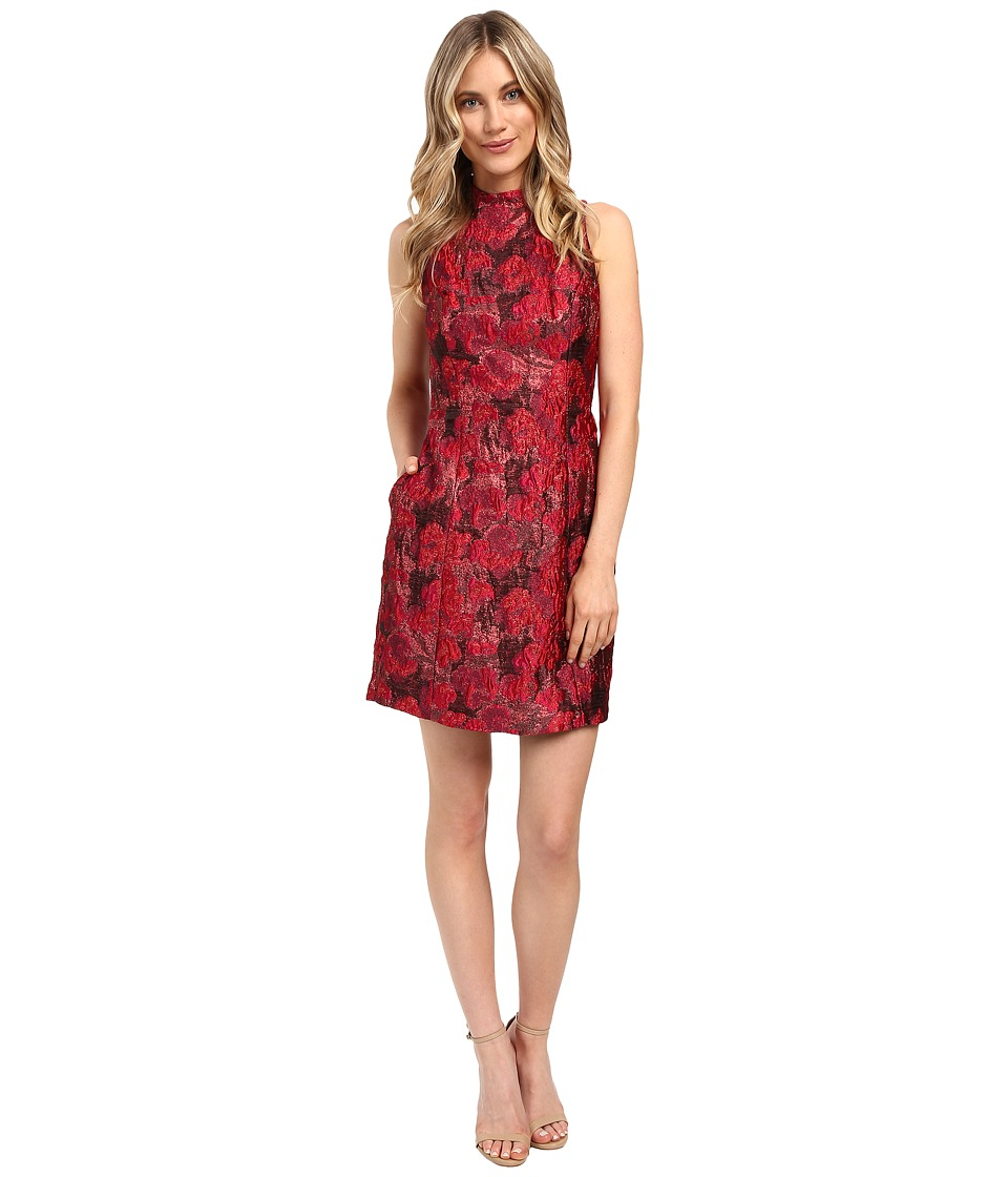 Aidan Mattox Mock Neck Lurex Jacquard Cocktail Dress (Red Multi) Women