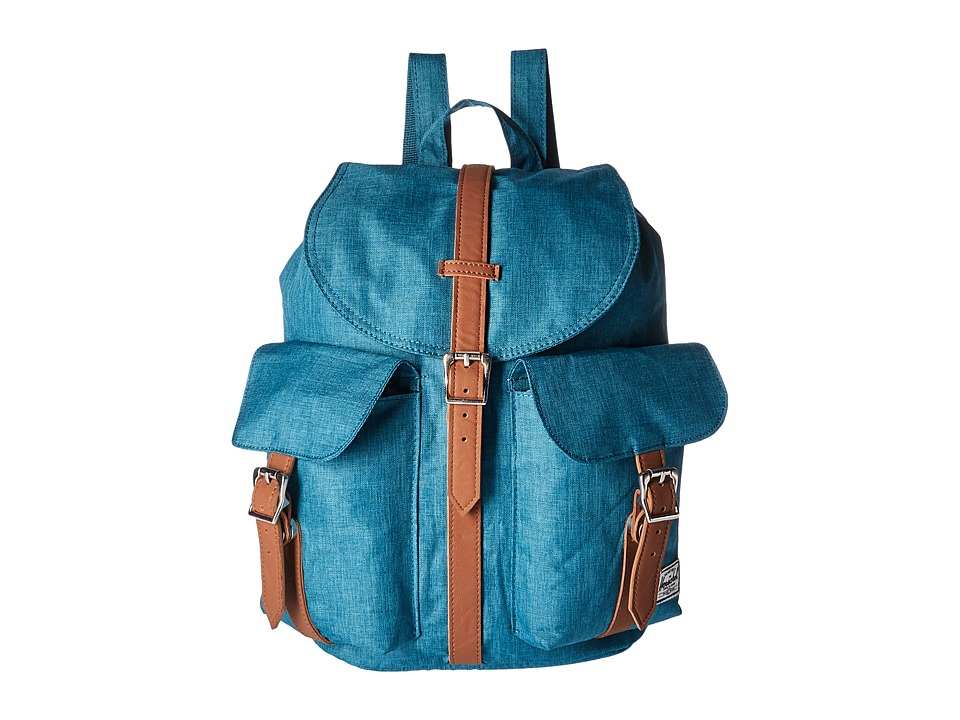 Herschel Supply Co. - Dawson (Petrol Crosshatch/Tan Synthetic Leather) Bags