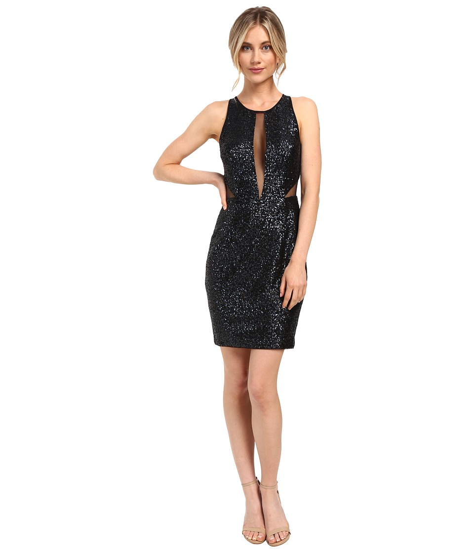 Aidan Mattox Sequin Cocktail Dress w/ Sheer Illusion (Black/Navy) Women