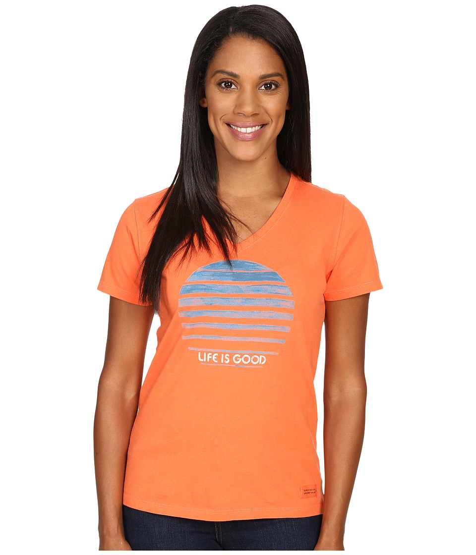 Life is Good - Life is Good(r) Stripe Sun Crusher Vee (Coral Orange) Women's T Shirt