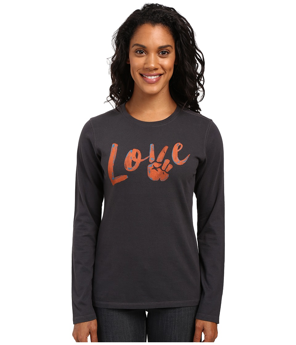 Life is good - Love Peace Long Sleeve Crusher Tee (Night Black) Women's Long Sleeve Pullover