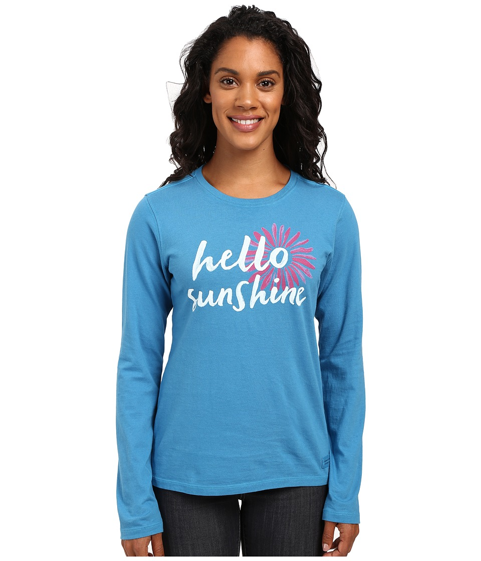 Life is good - Hello Sunshine Daisy Long Sleeve Crusher Tee (Denim Blue) Women's Long Sleeve Pullover