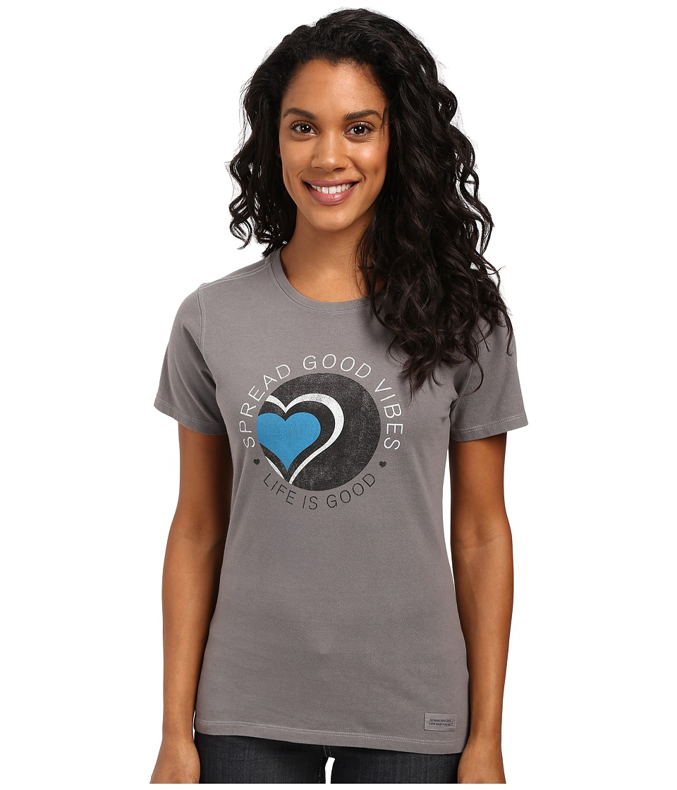 Life is good Spread Good Vibes Heart Crusher Tee (Slate Gray) Women