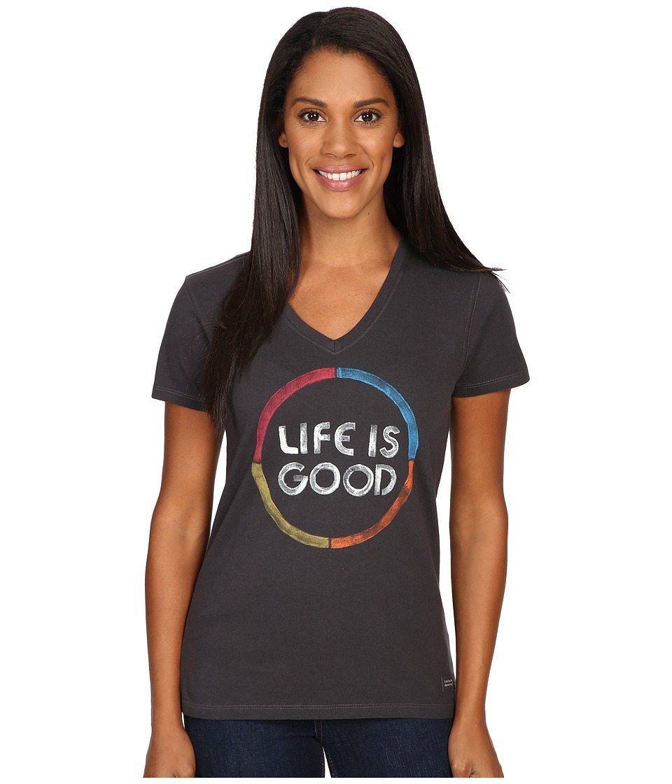 Life is Good - Life is Good(r) Color Circle Crusher Vee (Night Black) Women's T Shirt