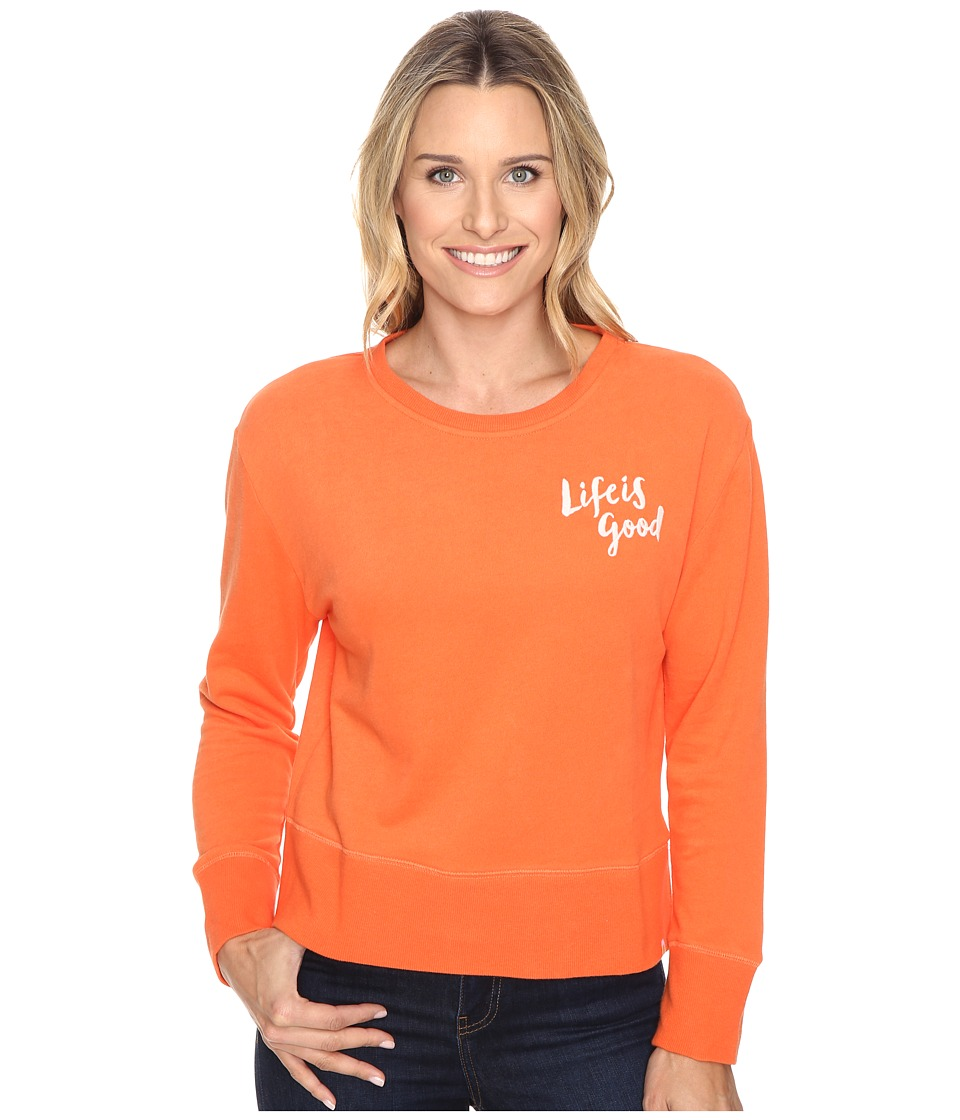 Life is Good - Life is Good(r) Painted Go-To Crew (Coral Orange) Women's Long Sleeve Pullover