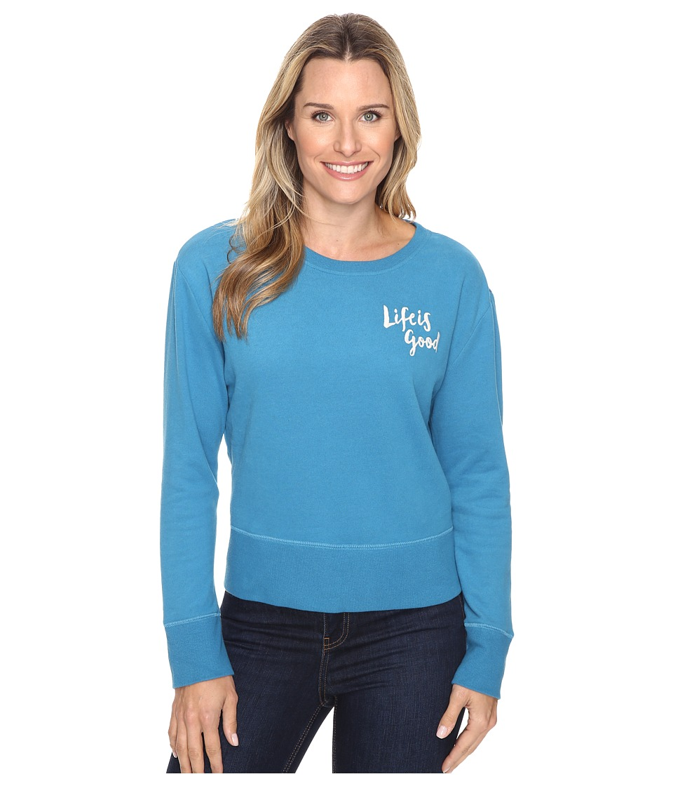 Life is good - Life is Good Painted Go-To Crew (Denim Blue) Women's Long Sleeve Pullover