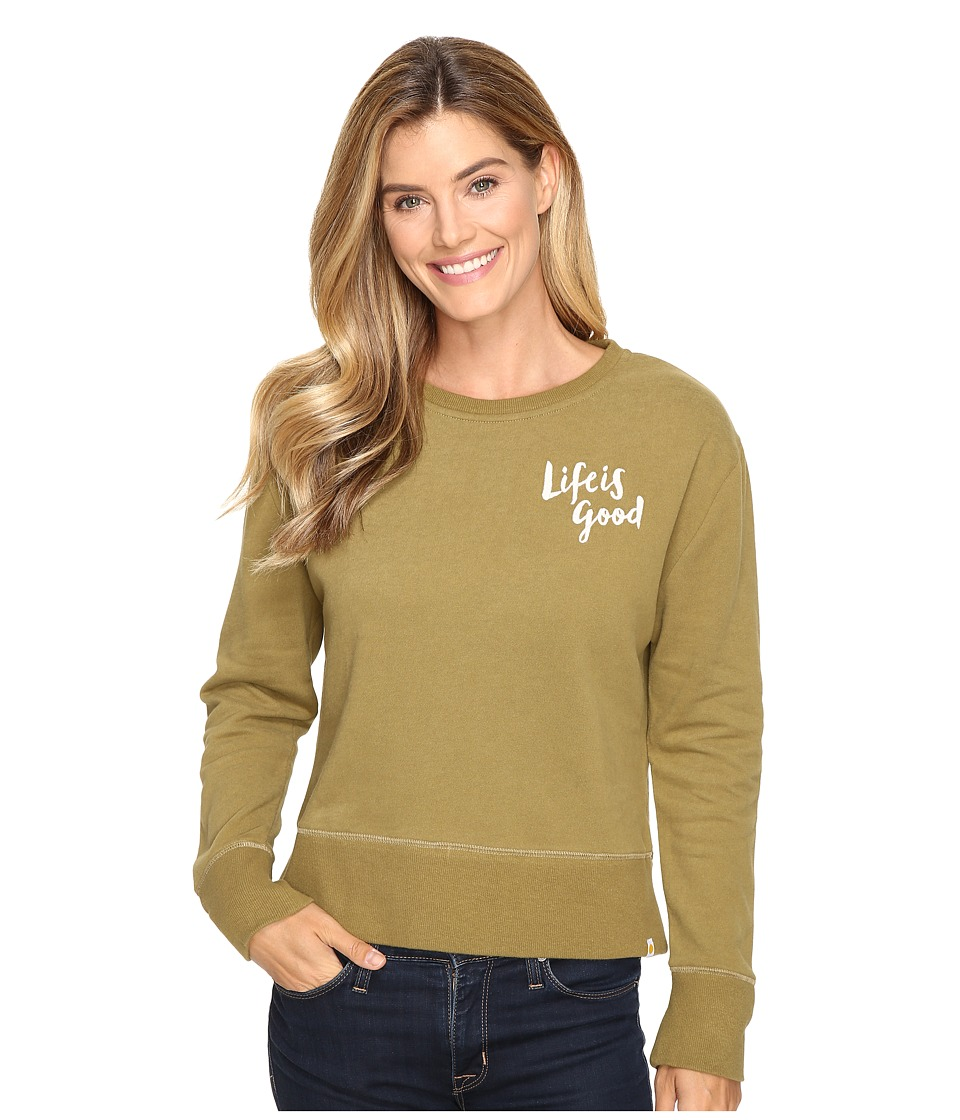 Life is good - Life is Good Painted Go-To Crew (Woodland Green) Women's Long Sleeve Pullover