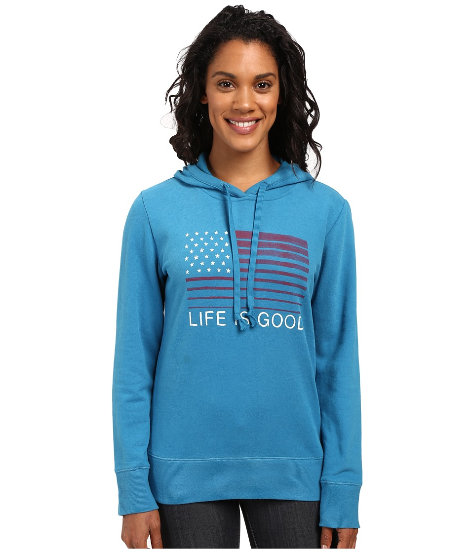 Life is good - Flag Stripe Go-To Pullover Hoodie (Denim Blue) Women's Sweatshirt