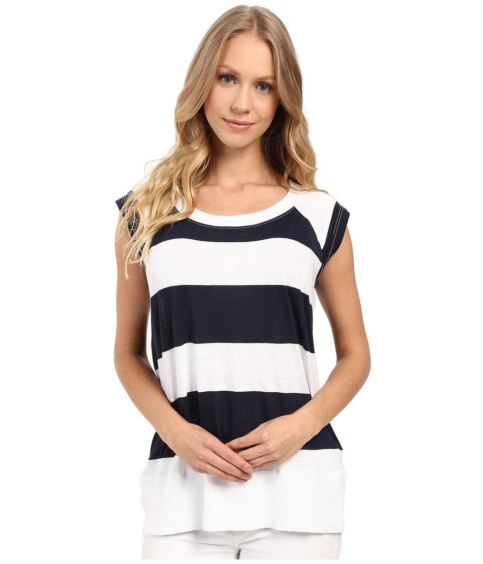 Allen Allen - Stripe Raglan Sleeveless Crew (White) Women's Clothing