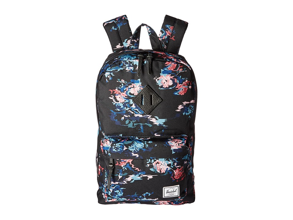 Herschel Supply Co. - Heritage Mid-Volume (Floral Blur/Black Pebbled Leather) Backpack Bags