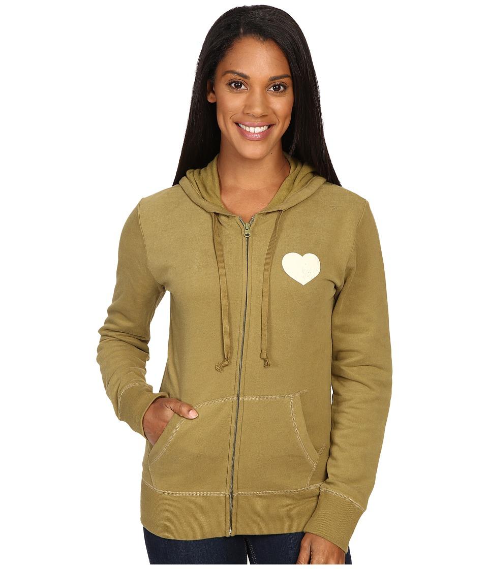 Life is Good - Spread Good Vibes Heart Go-To Zip Hoodie (Woodland Green) Women's Sweatshirt