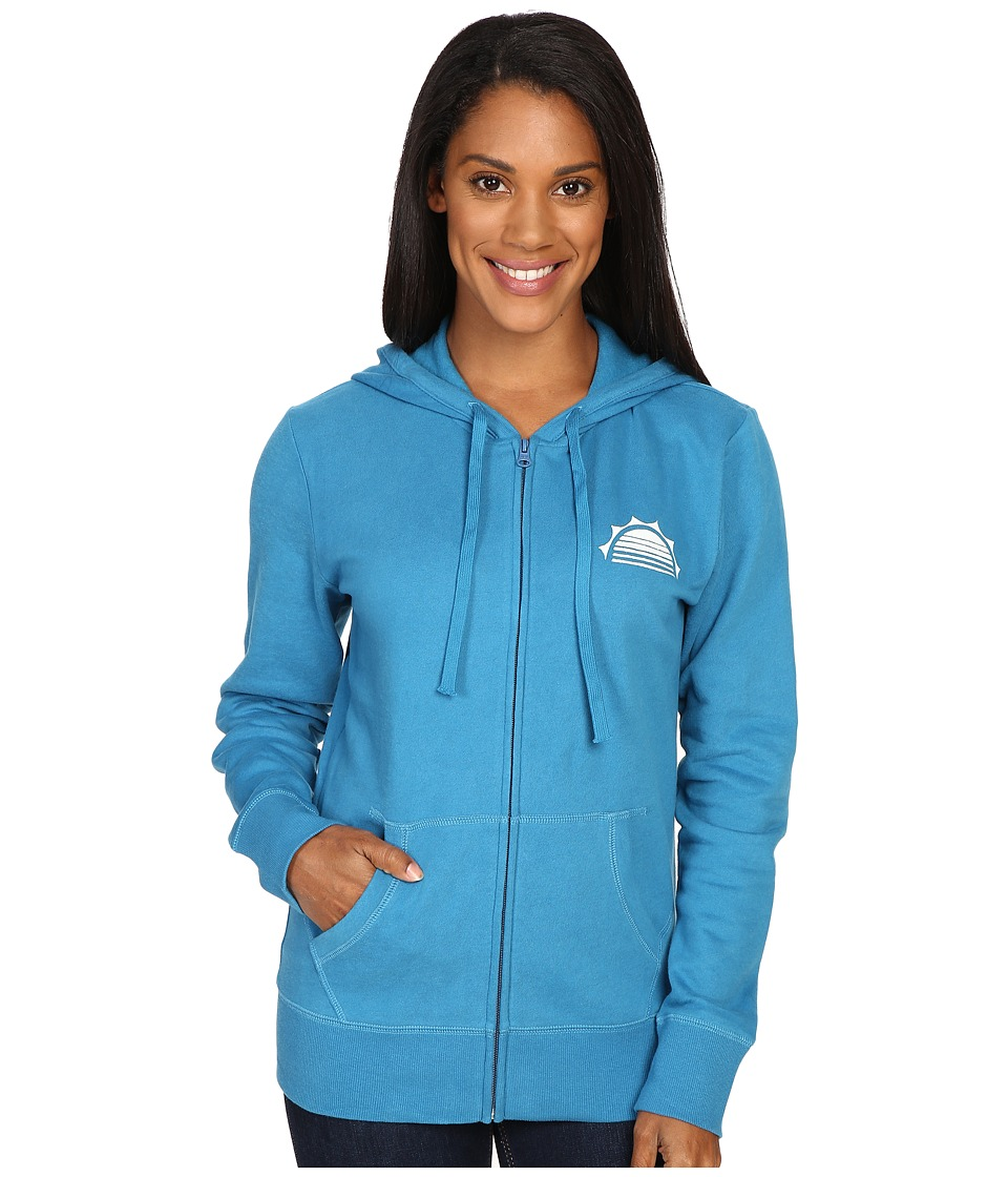 Life is good - Happy Hour Sun Go-To Zip Hoodie (Denim Blue) Women's Sweatshirt