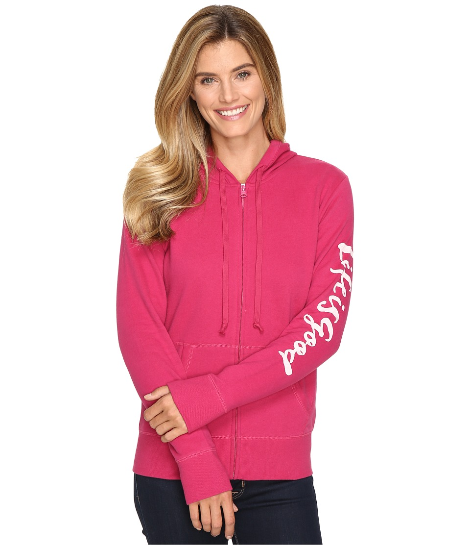 Life is good - Life is Good Painted Go-To Zip Hoodie (Rose Berry) Women's Sweatshirt