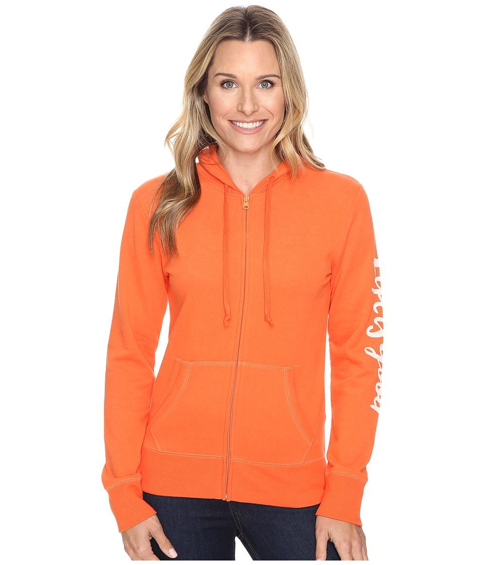 Life is Good - Life is Good(r) Painted Go-To Zip Hoodie (Coral Orange) Women's Sweatshirt