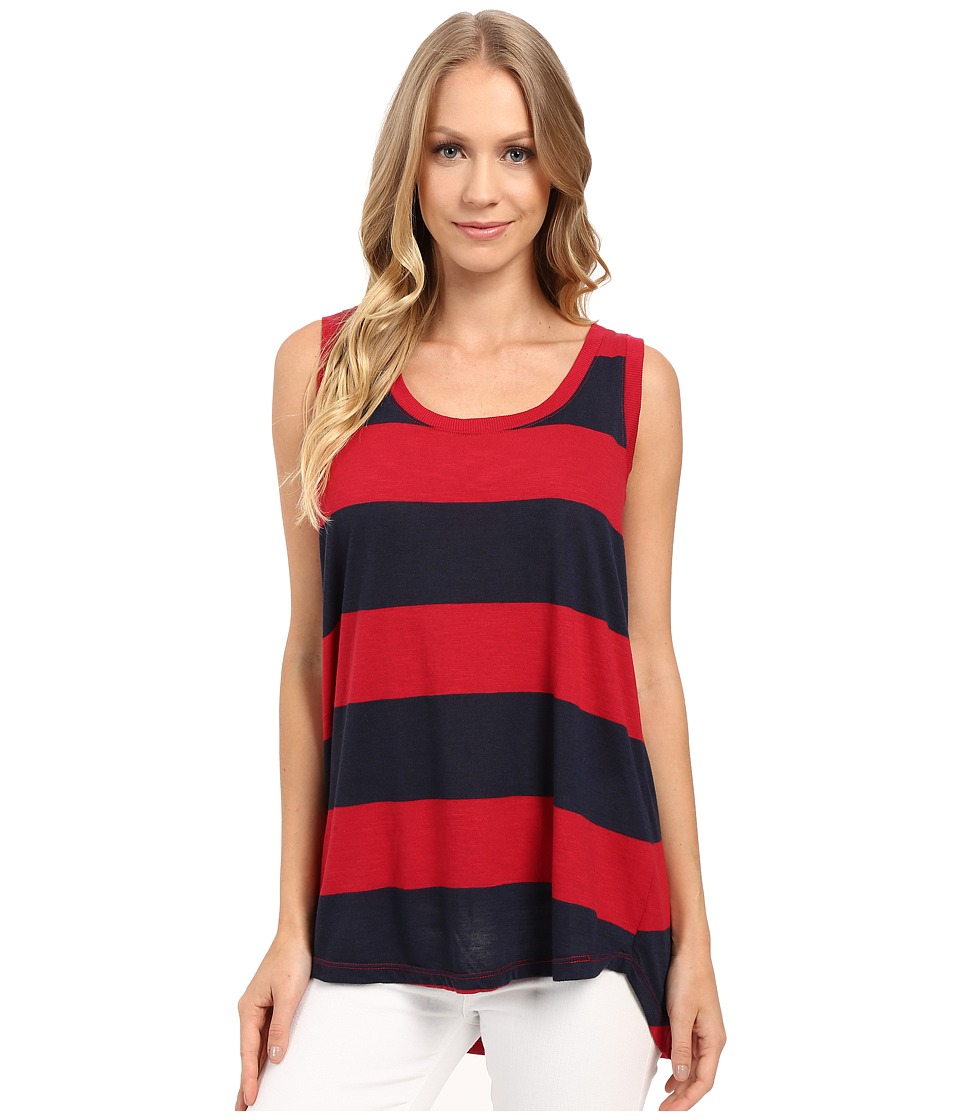 Allen Allen - Stripe Hi-Low Tank Top (Red) Women's Sleeveless
