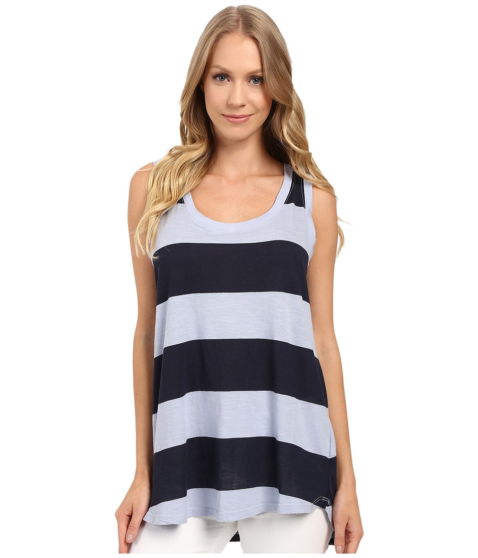 Allen Allen - Stripe Hi-Low Tank Top (Alpine) Women's Sleeveless