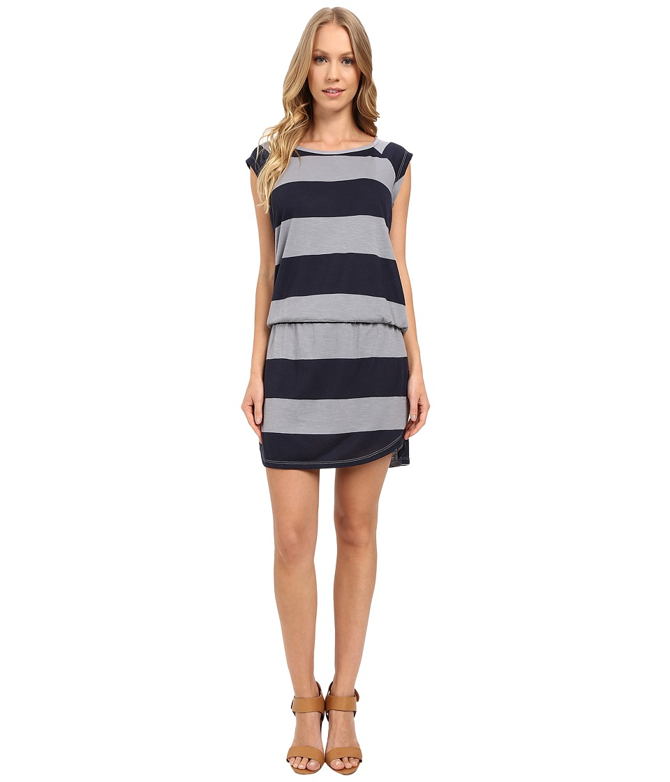 Allen Allen Stripe Short Sleeve Raglan Dress (Pale Grey) Women