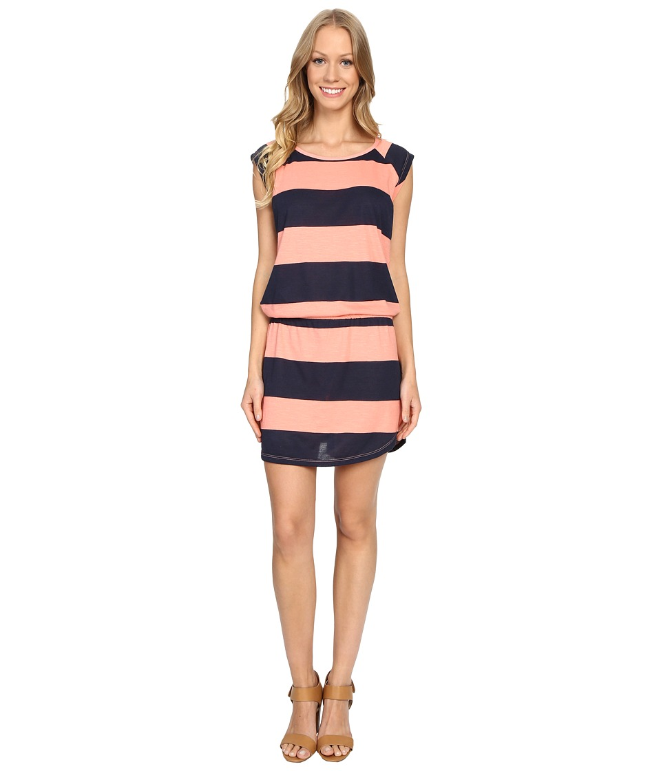 Allen Allen Stripe Short Sleeve Raglan Dress (Peach Amber) Women