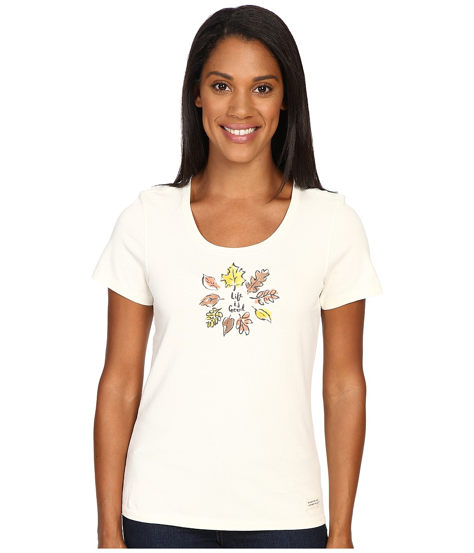 Life is good - Circle Leaves Crusher Scoop Tee (Simply Ivory) Women's Short Sleeve Pullover