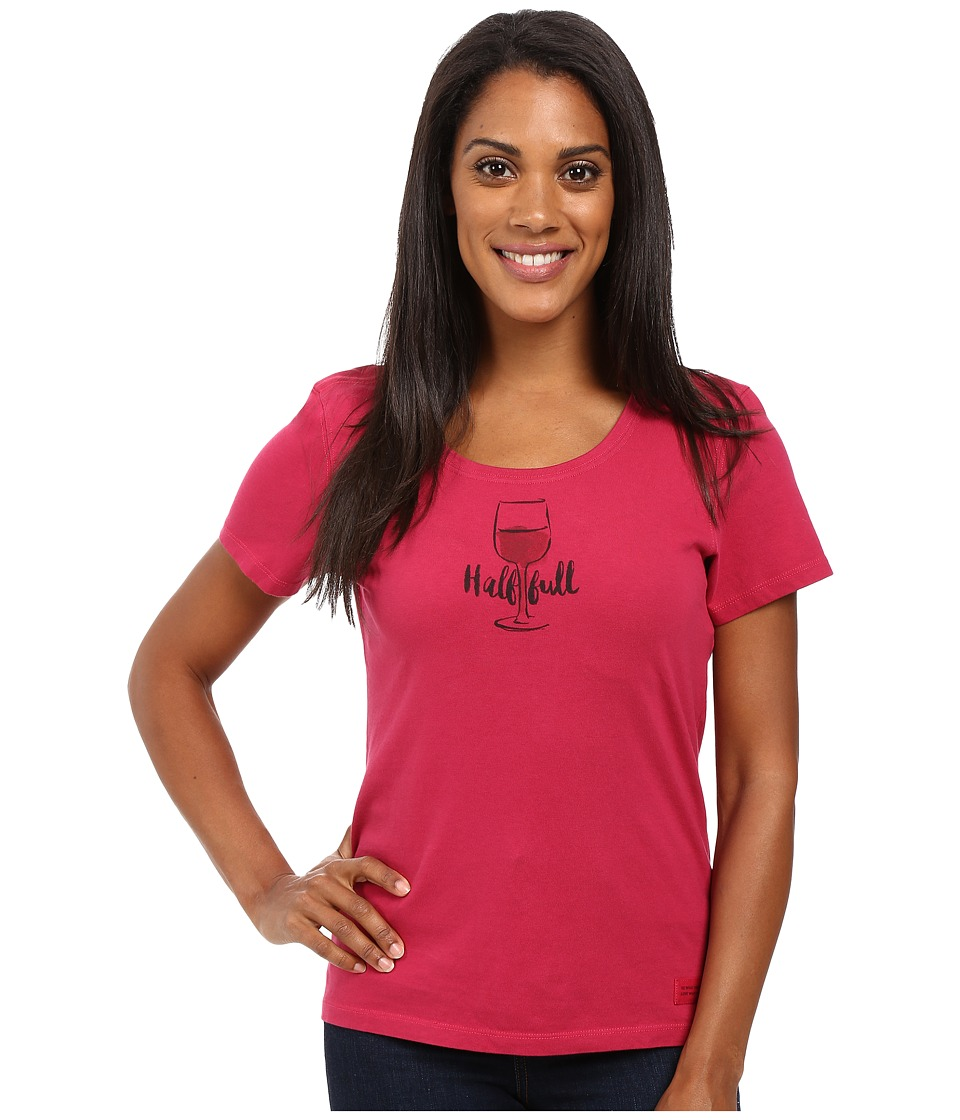 Life is good - Half Full Wine Glass Crusher Scoop (Rose Berry) Women's Short Sleeve Pullover