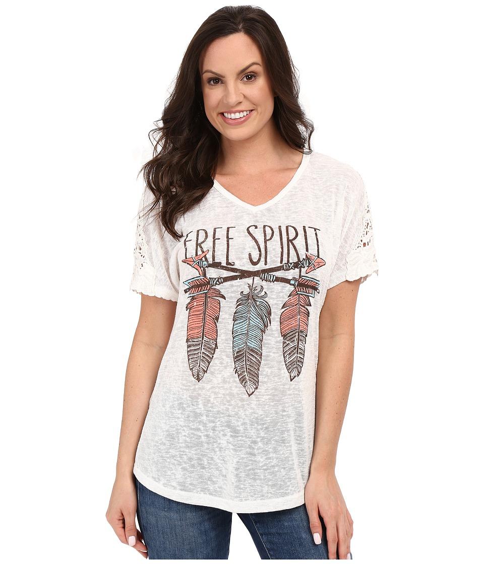 Petrol - Printed Crochet Tee (Ivory) Women's T Shirt