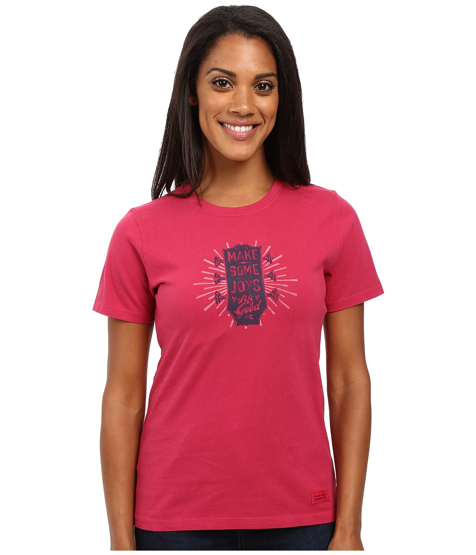 Life is Good Make Some Joys Guitar Crusher Tee (Rose Berry) Women