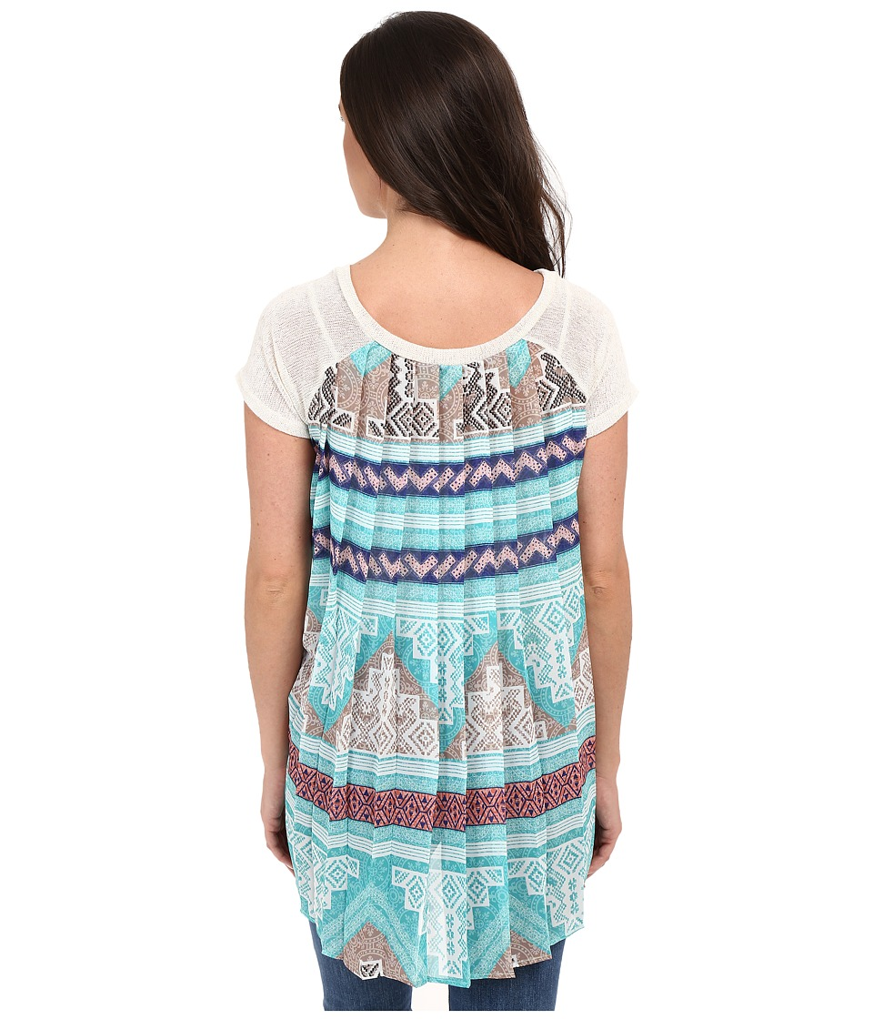Petrol - Chiffon Back Tunic (Aqua) Women's Blouse